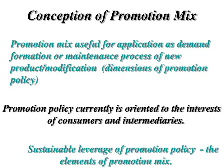 Conception of Promotion Mix