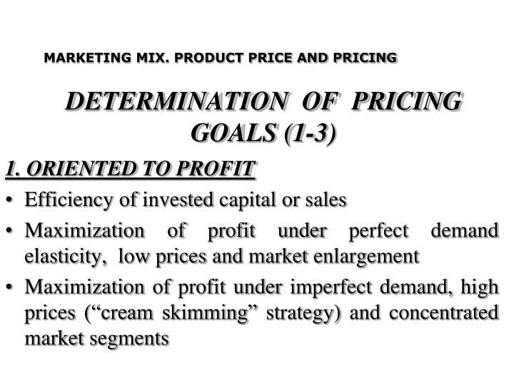 DETERMINATION  OF  PRICING  GOALS (1-3)