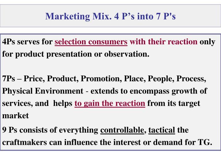 Marketing Mix. 4 P's into 7 P's