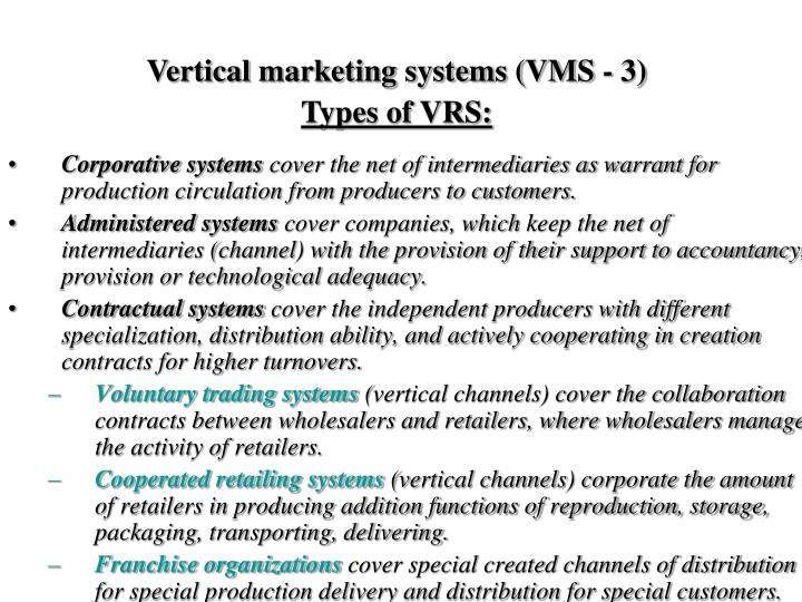 Vertical marketing systems (VMS - 3)