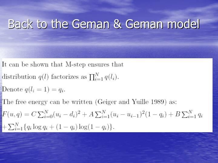 Back to the Geman & Geman model