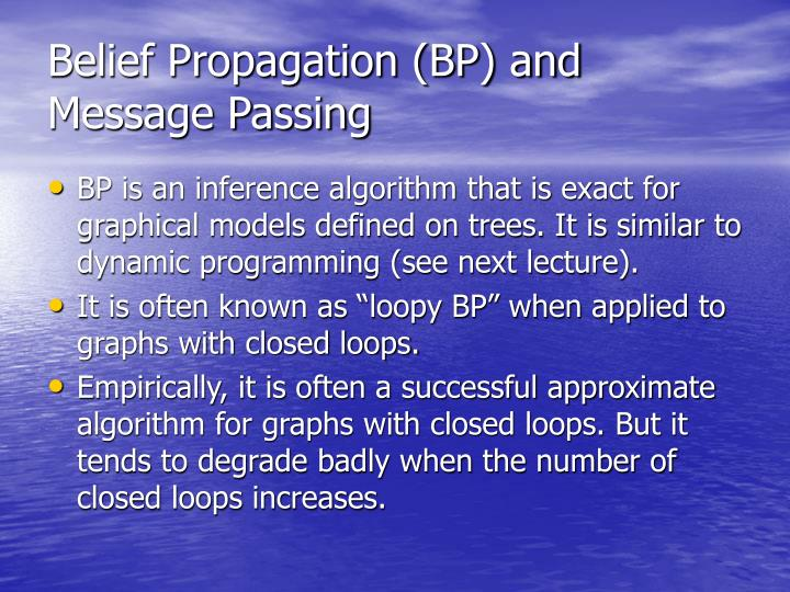 Belief Propagation (BP) and Message Passing