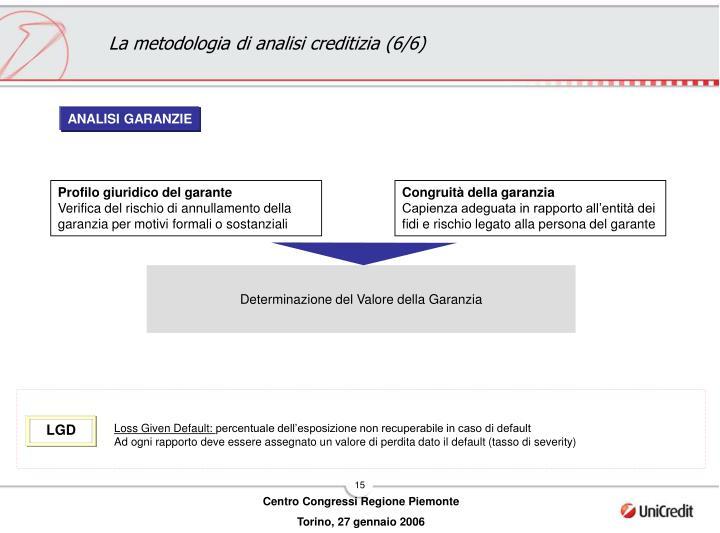 La metodologia di analisi creditizia (6/6)