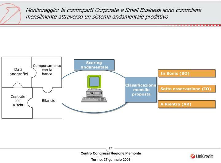 Monitoraggio: le controparti Corporate e Small Business sono controllate mensilmente attraverso un sistema andamentale predittivo