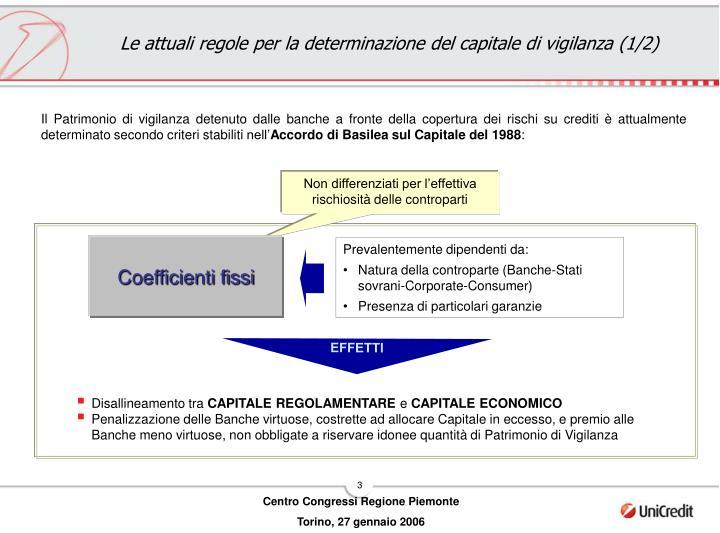 Le attuali regole per la determinazione del capitale di vigilanza (1/2)