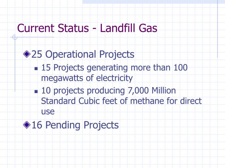 Current Status - Landfill Gas