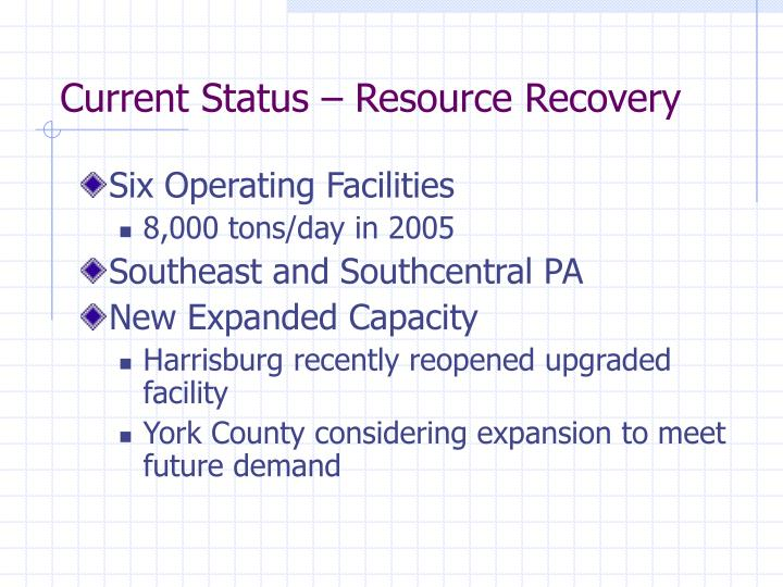 Current Status – Resource Recovery