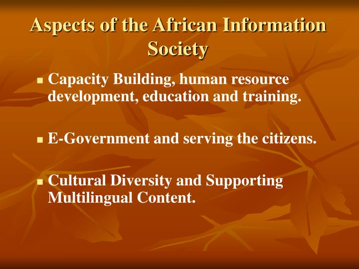 Aspects of the African Information Society