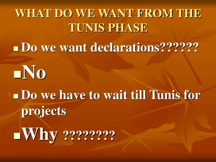 WHAT DO WE WANT FROM THE TUNIS PHASE