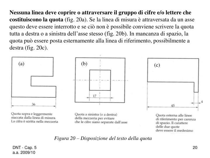 Nessuna linea deve coprire o attraversare il gruppo di cifre e/o lettere che costituiscono la quota