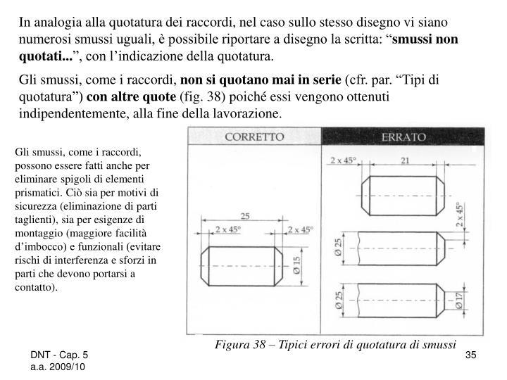"""In analogia alla quotatura dei raccordi, nel caso sullo stesso disegno vi siano numerosi smussi uguali, è possibile riportare a disegno la scritta: """""""