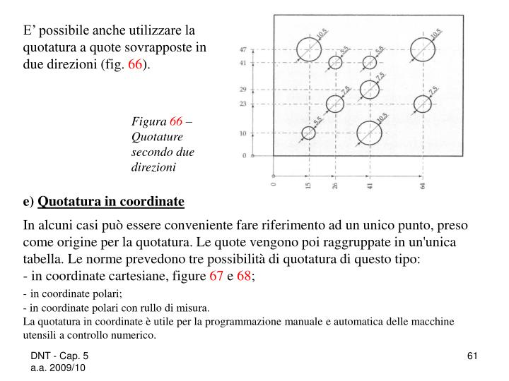 E' possibile anche utilizzare la quotatura a quote sovrapposte in due direzioni (fig.