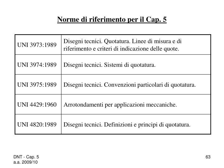 Norme di riferimento per il Cap. 5