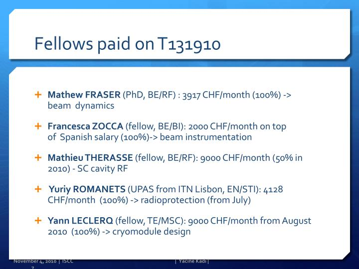 Fellows paid on T131910