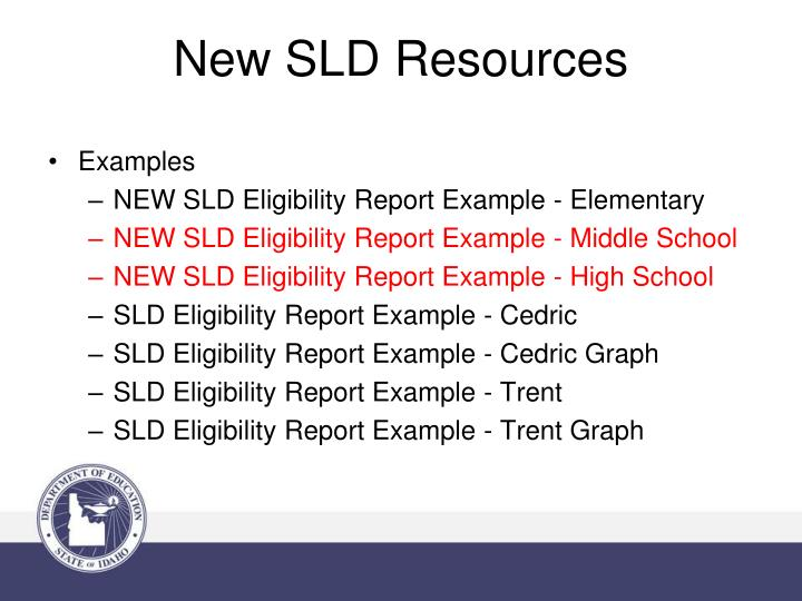 New SLD Resources