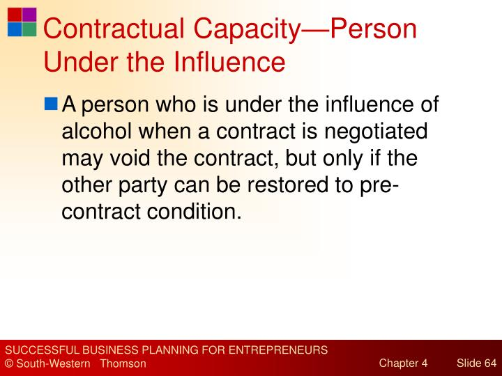 Contractual Capacity—Person Under the Influence