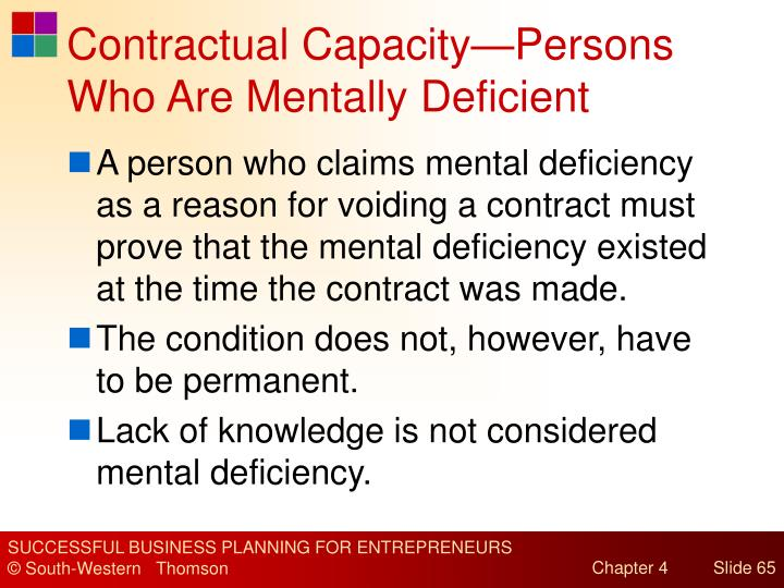 Contractual Capacity—Persons Who Are Mentally Deficient