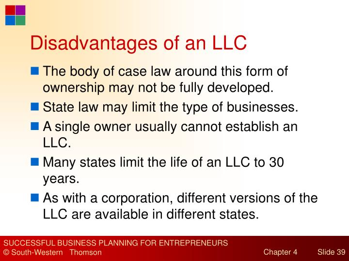 Disadvantages of an LLC