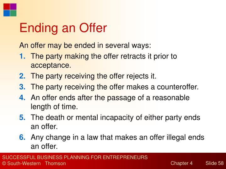 Ending an Offer