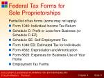 federal tax forms for sole proprietorships