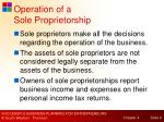 operation of a sole proprietorship
