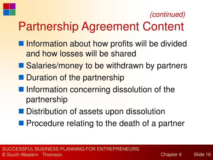 Partnership Agreement Content