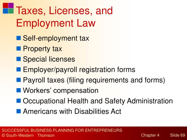 Taxes, Licenses, and Employment Law