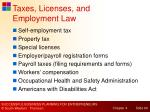 taxes licenses and employment law
