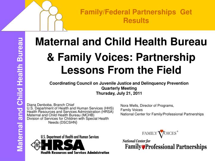 Maternal and child health bureau family voices partnership lessons from the field