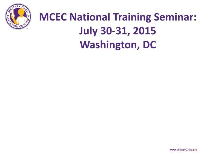 MCEC National Training Seminar: