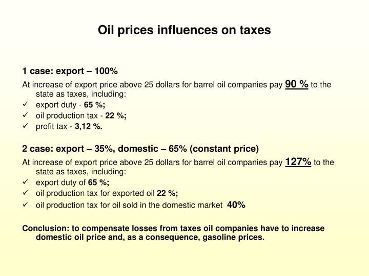Oil prices influences on taxes