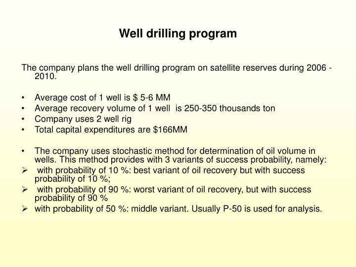 Well drilling program