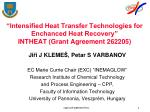 intensified heat transfer technologies for enchanced heat recovery intheat grant agreement 262205