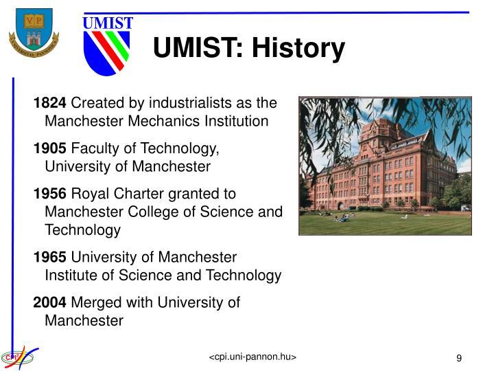 UMIST: History