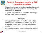 task 6 1 technology transfer to sme consortium members