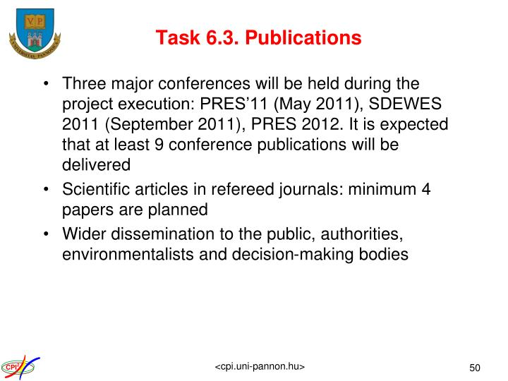 Task 6.3. Publications