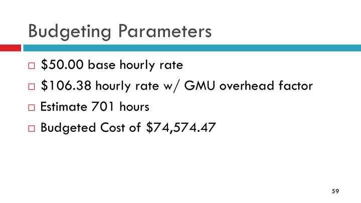 Budgeting Parameters