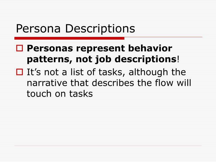 Persona Descriptions
