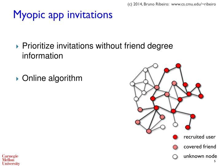 Myopic app invitations