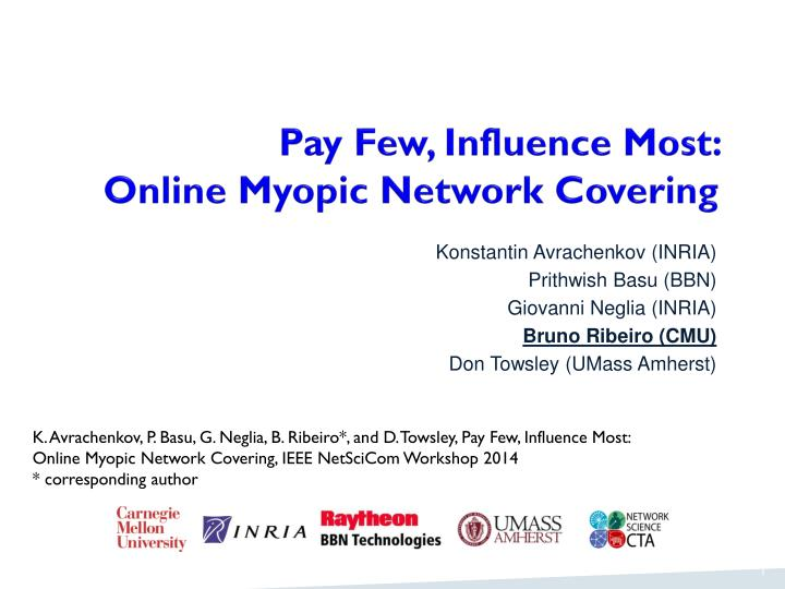 Pay few influence most online myopic network covering