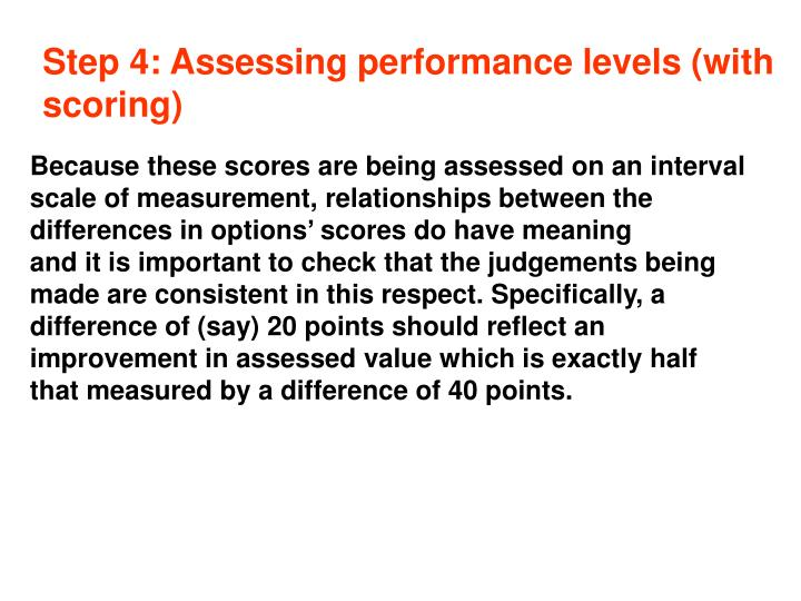 Step 4: Assessing performance levels (with scoring)