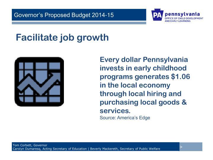Facilitate job growth