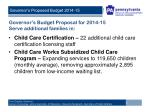 governor s budget proposal for 2014 15 serve additional families in