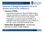 governor s budget proposal for 2014 15 sustain services for children in
