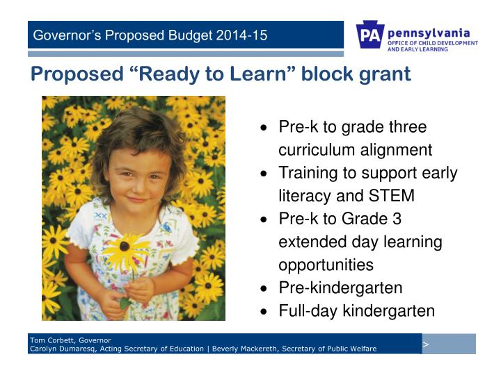 """Proposed """"Ready to Learn"""" block grant"""