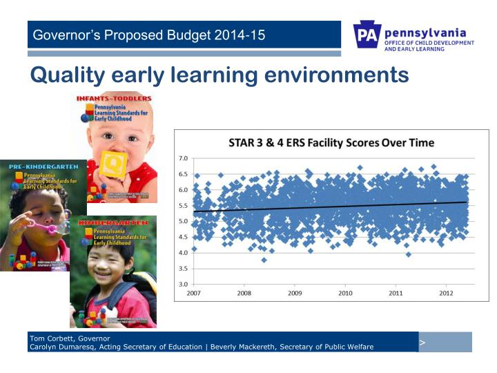 Quality early learning environments