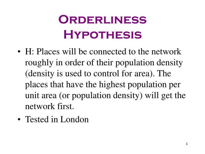 Orderliness Hypothesis