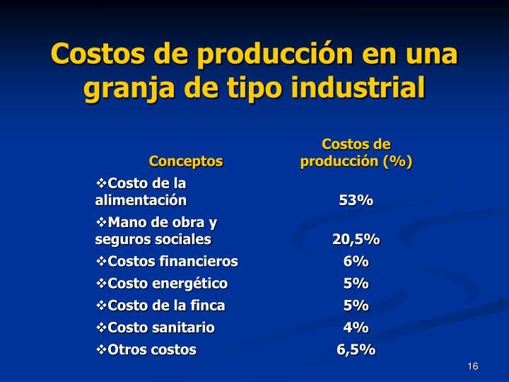 Costos de producción en una granja de tipo industrial
