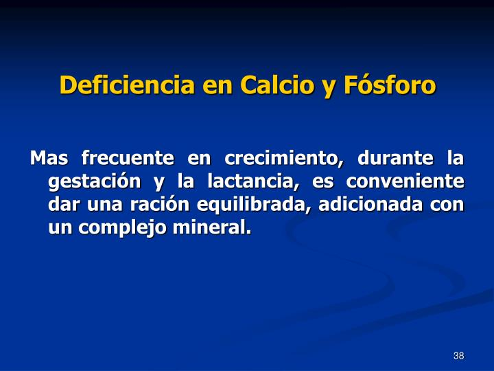 Deficiencia en Calcio y Fósforo
