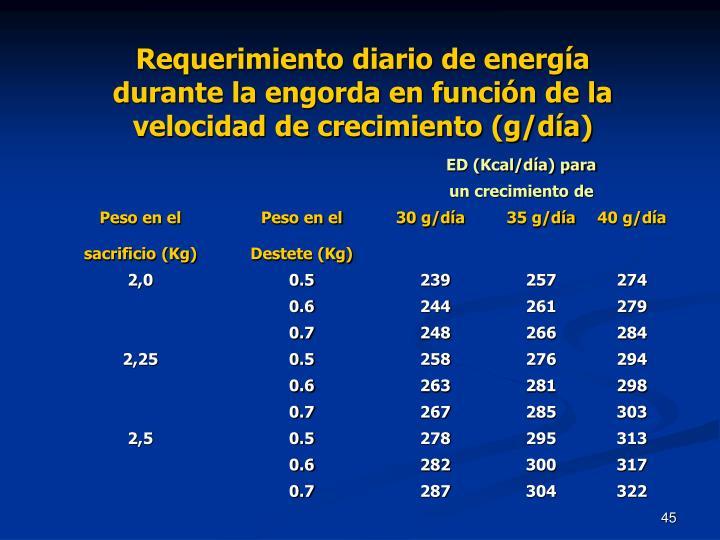 Requerimiento diario de energía durante la engorda en función de la velocidad de crecimiento (g/día)